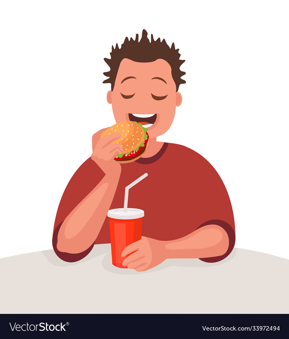 Man is eating fast food concept unhealthy