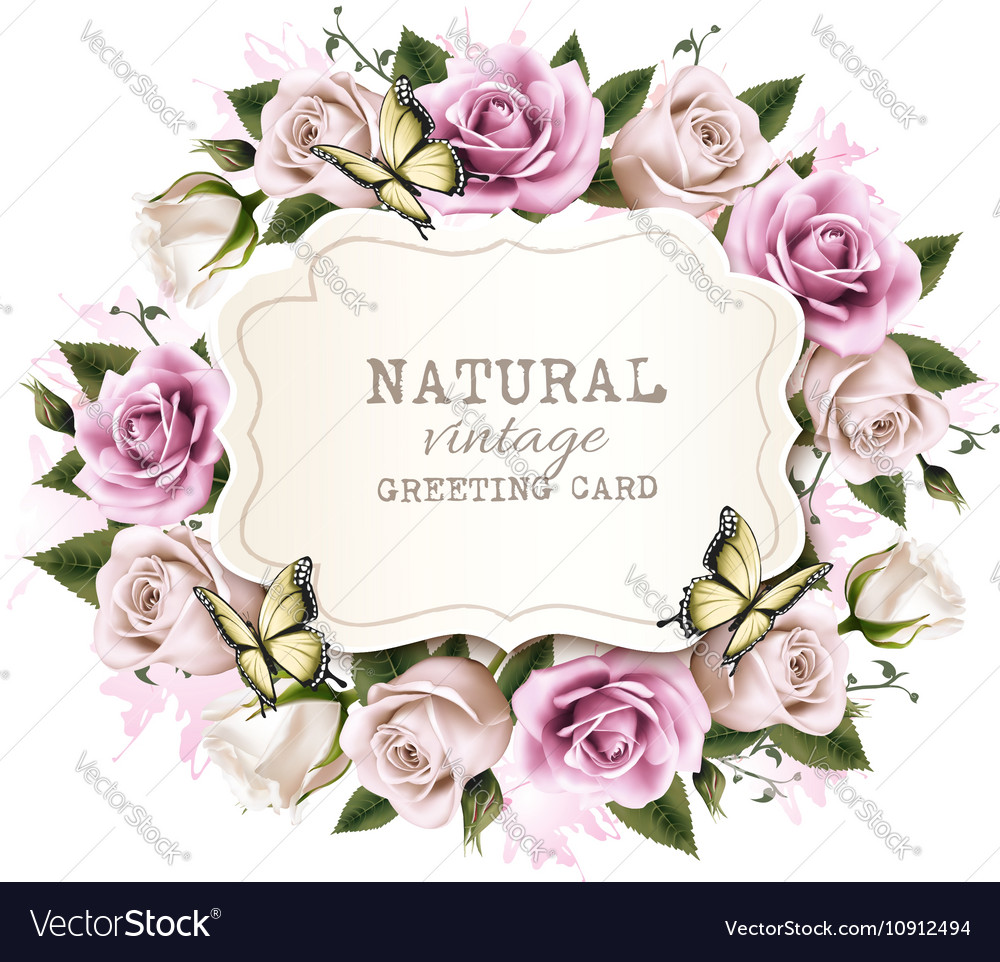 Natural vintage greeting frame with roses