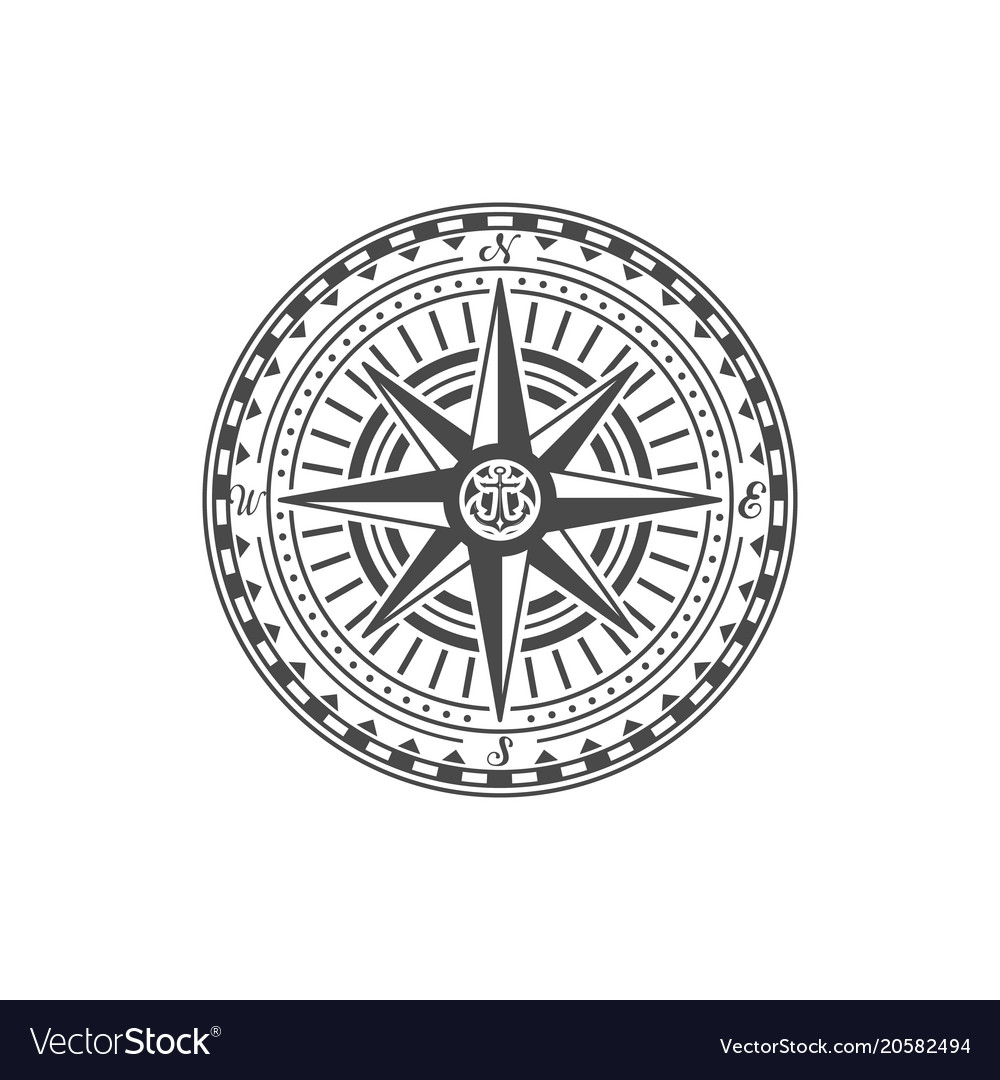 Old fashioned compass rose sign