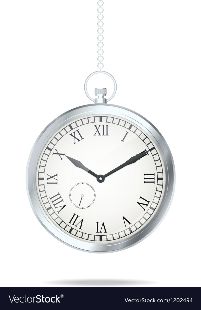 Old silver watch vector image