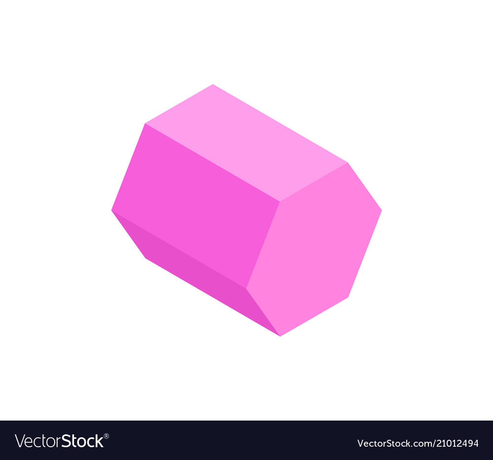 Pink hexagonal prism isolated on white backdrop vector image