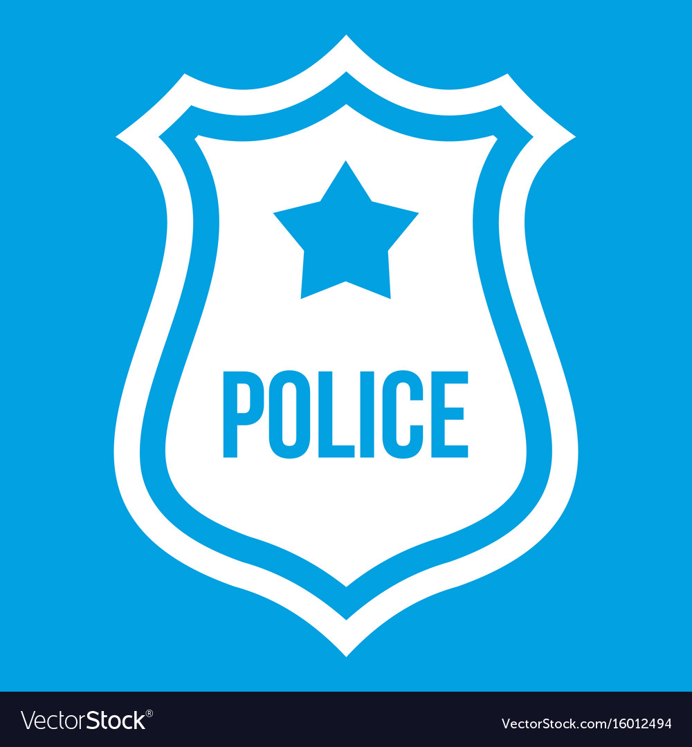 Police Badge Icon White Royalty Free Vector Image