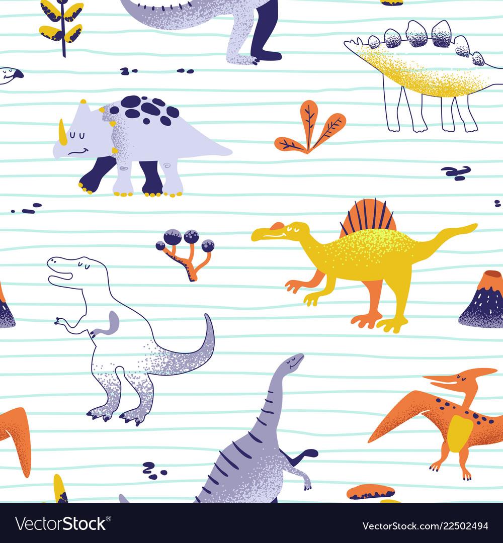 Seamless cartoon dinosaurs pattern baby background