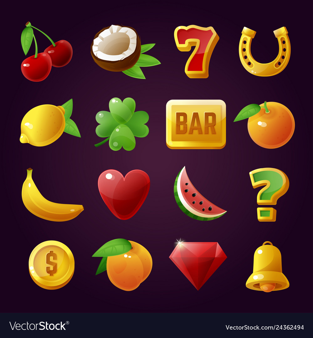 Slot machine symbols game and gambling set