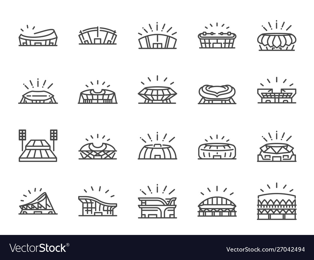 Sports stadium line icon set