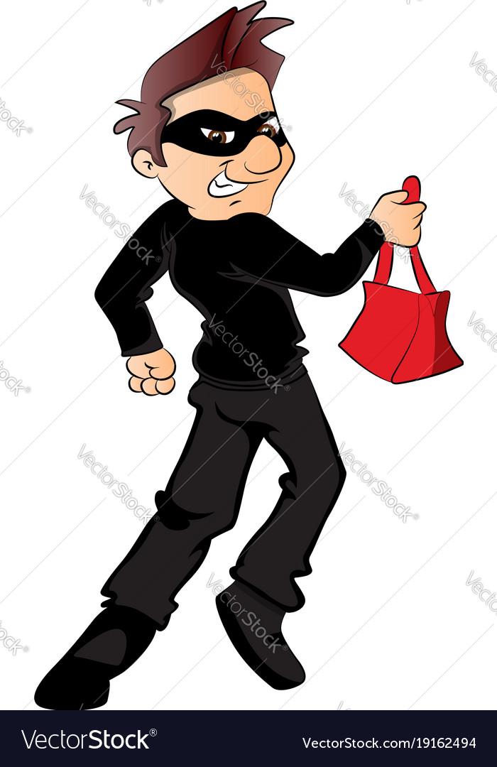 Thief running with stolen handbag