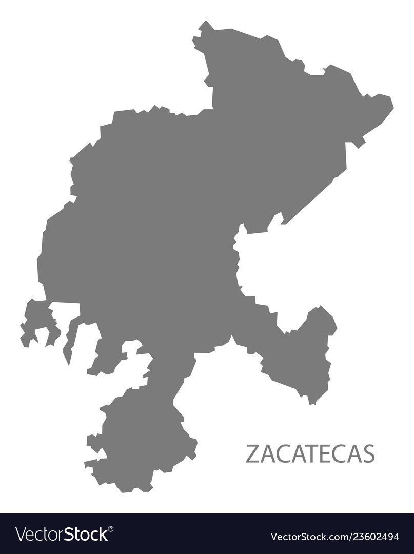 Zacatecas mexico map grey Royalty Free Vector Image on