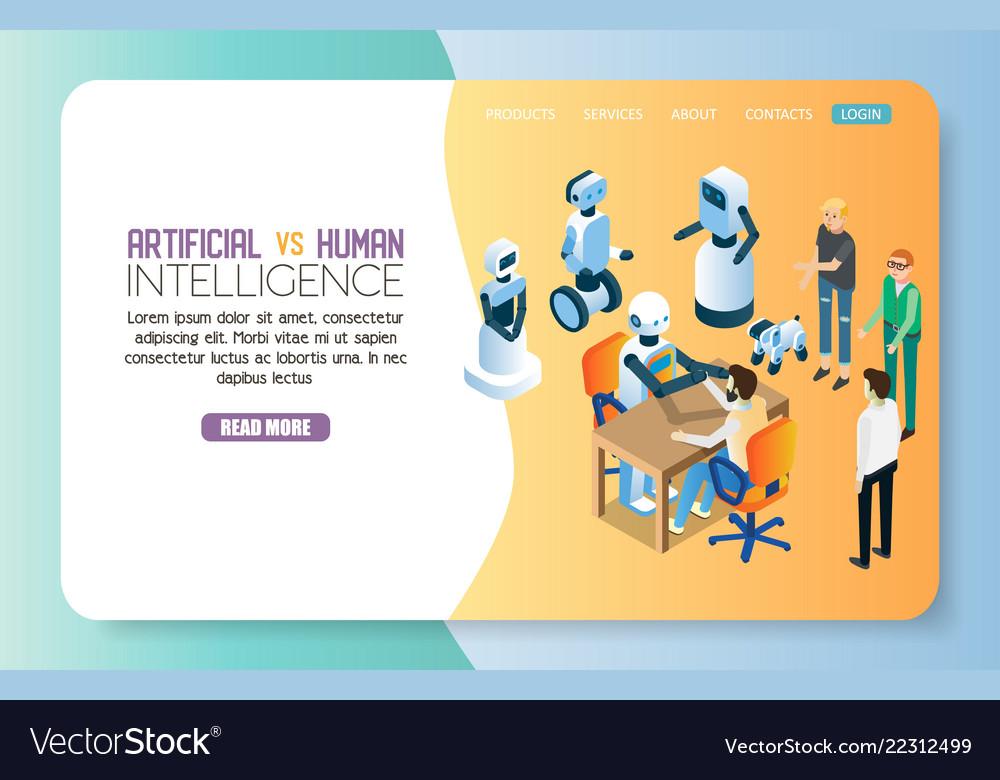 Ai vs human landing page website template Vector Image