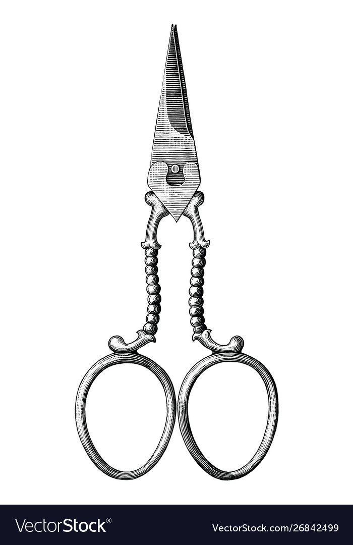 Antique scissors hand draw vintage style black