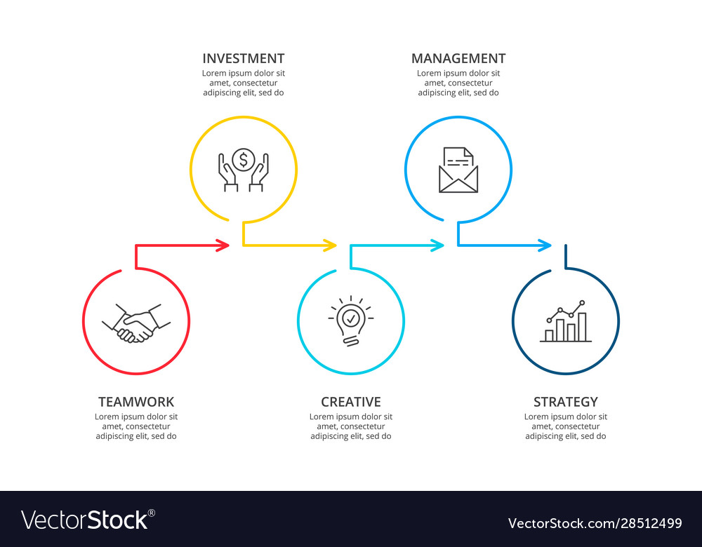 Business infographic template thin line diagram