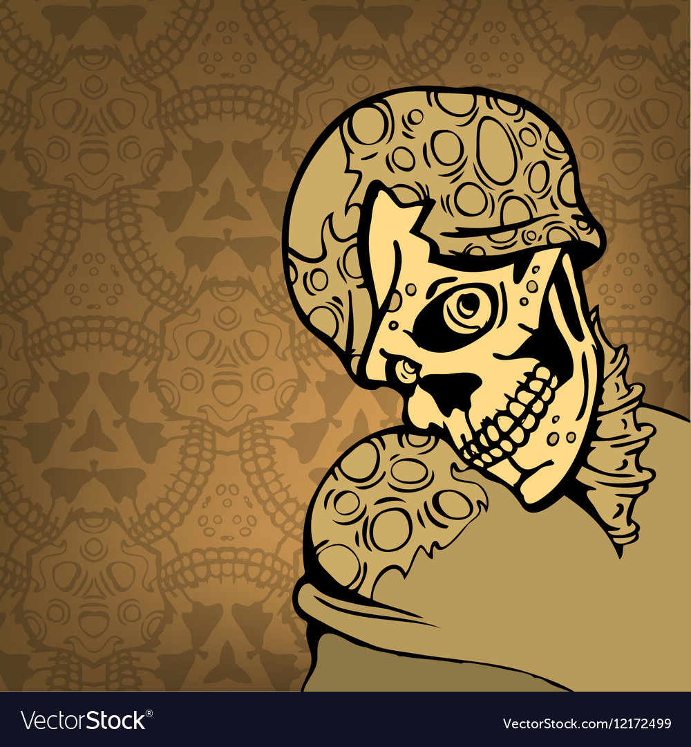 Cartoon skull on an abstract background with a