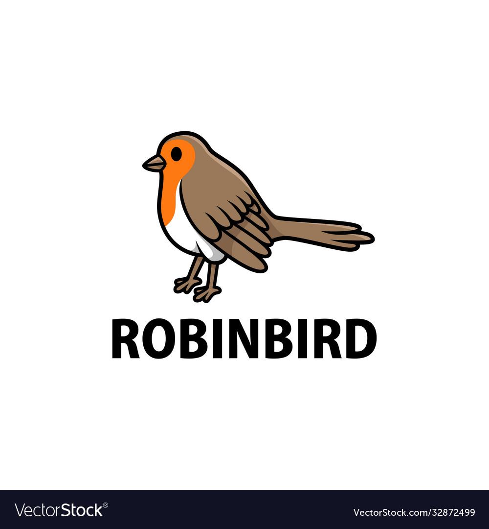 Cute robin cartoon logo icon
