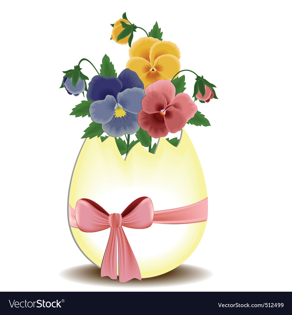 Easter Greetings Card With Pansies Royalty Free Vector Image