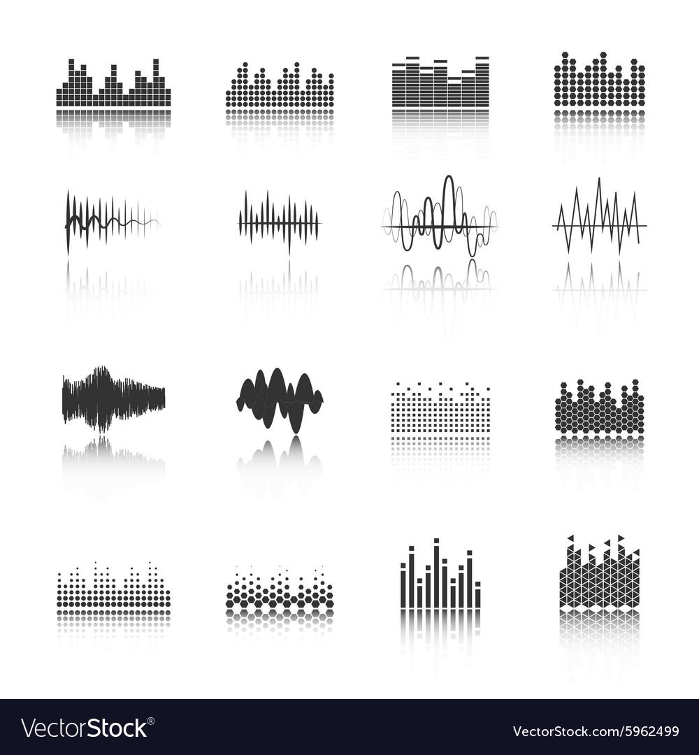 Equalizer black icons set