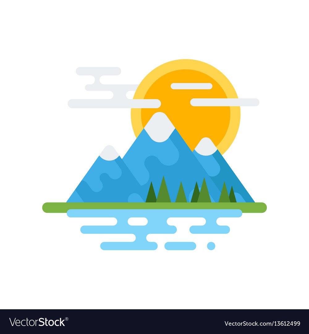 Flat style of canadian mountain