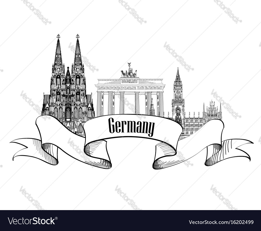 Germany label famous german landmark set travel vector image