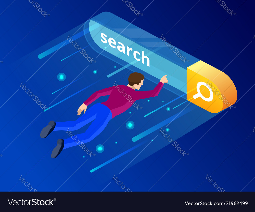 Isometric search bar modern concept search engine