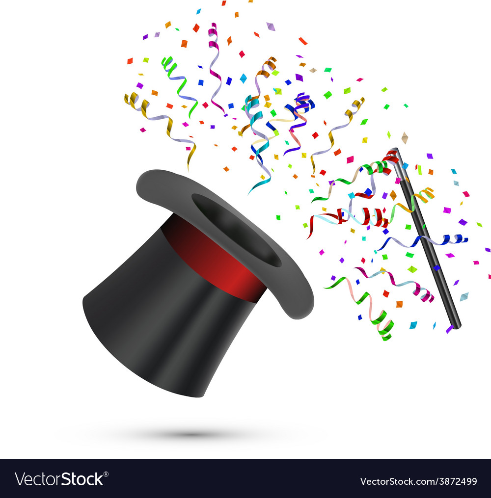 Magician Top Hat and stick with confetti vector image