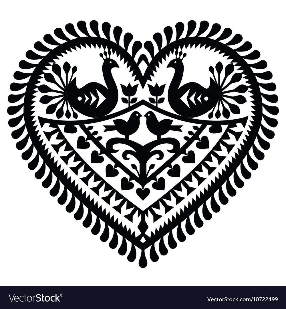 Polish folk art heart pattern for Valentines Day