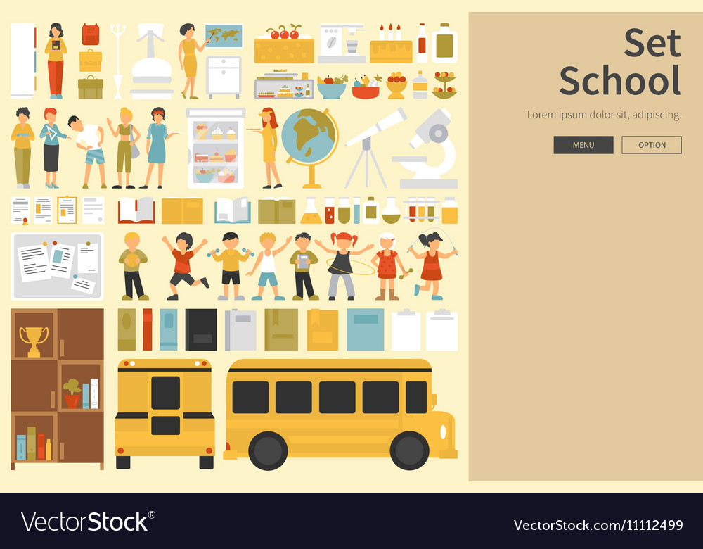 School Big Collection in flat design concept