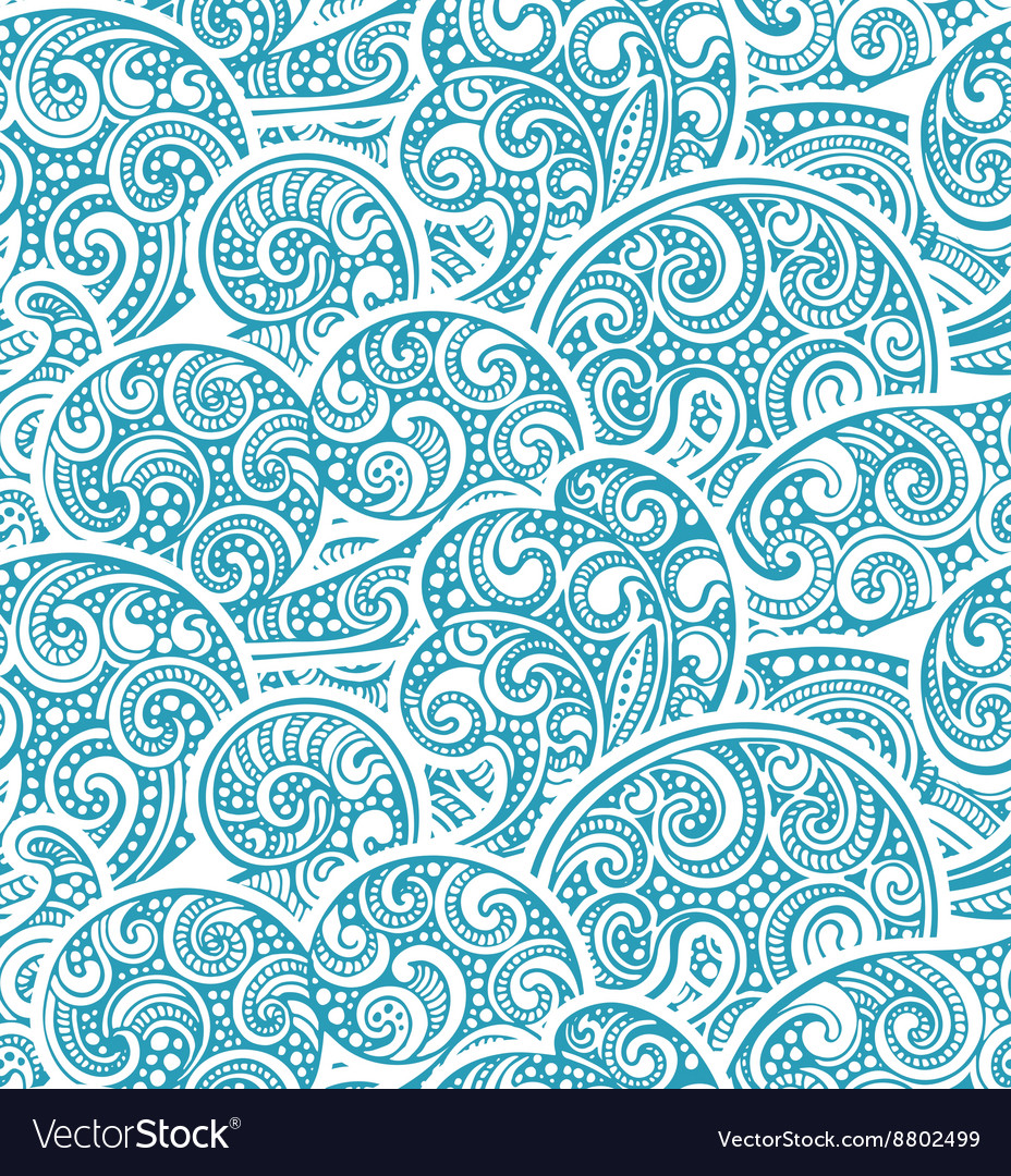 Seamless pattern with hand drawn doodle sea waves