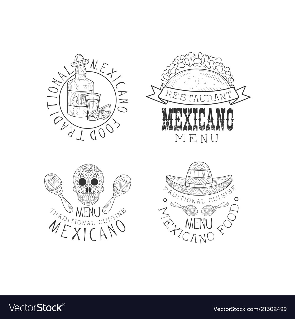 Set of 4 logos for restaurants of mexican