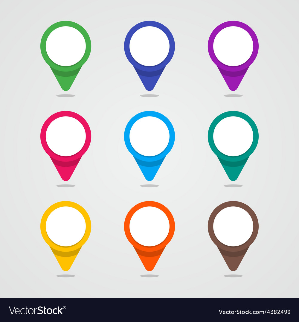 Set of colorful map pointer in flat style and