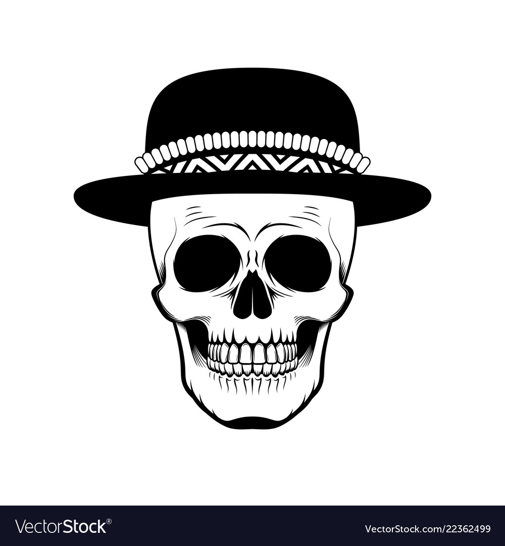 Stylized skull in hat black and white
