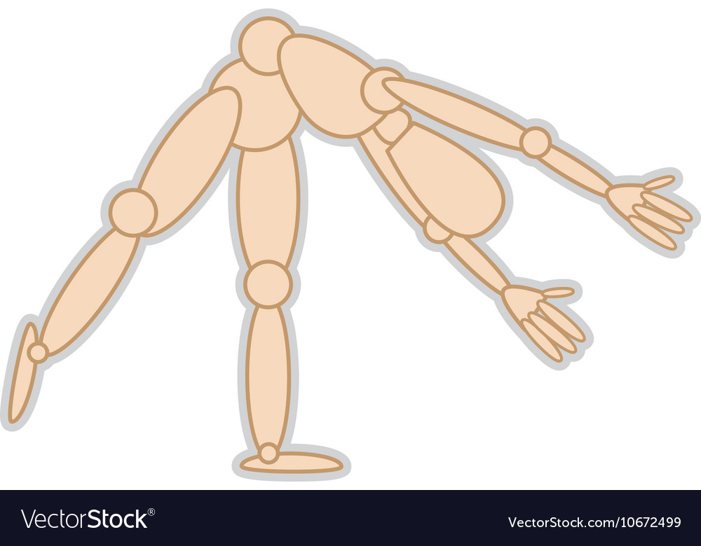 wooden mannequin movement pose royalty free vector image