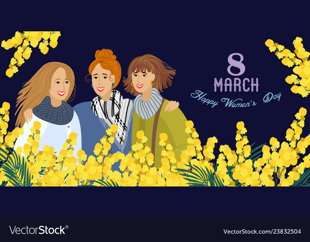 8 march womens with flowers mimosa on a dark