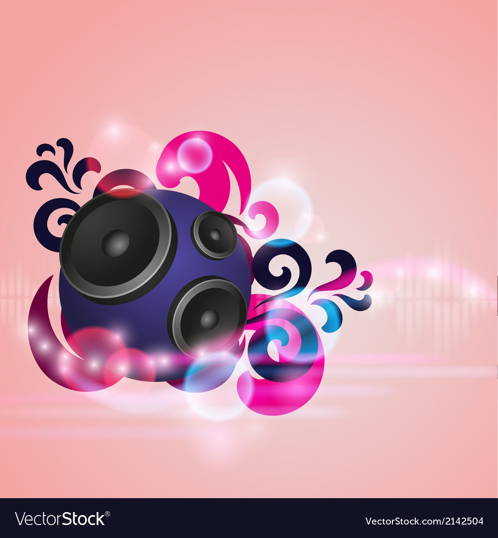 Abstract music background with round speaker