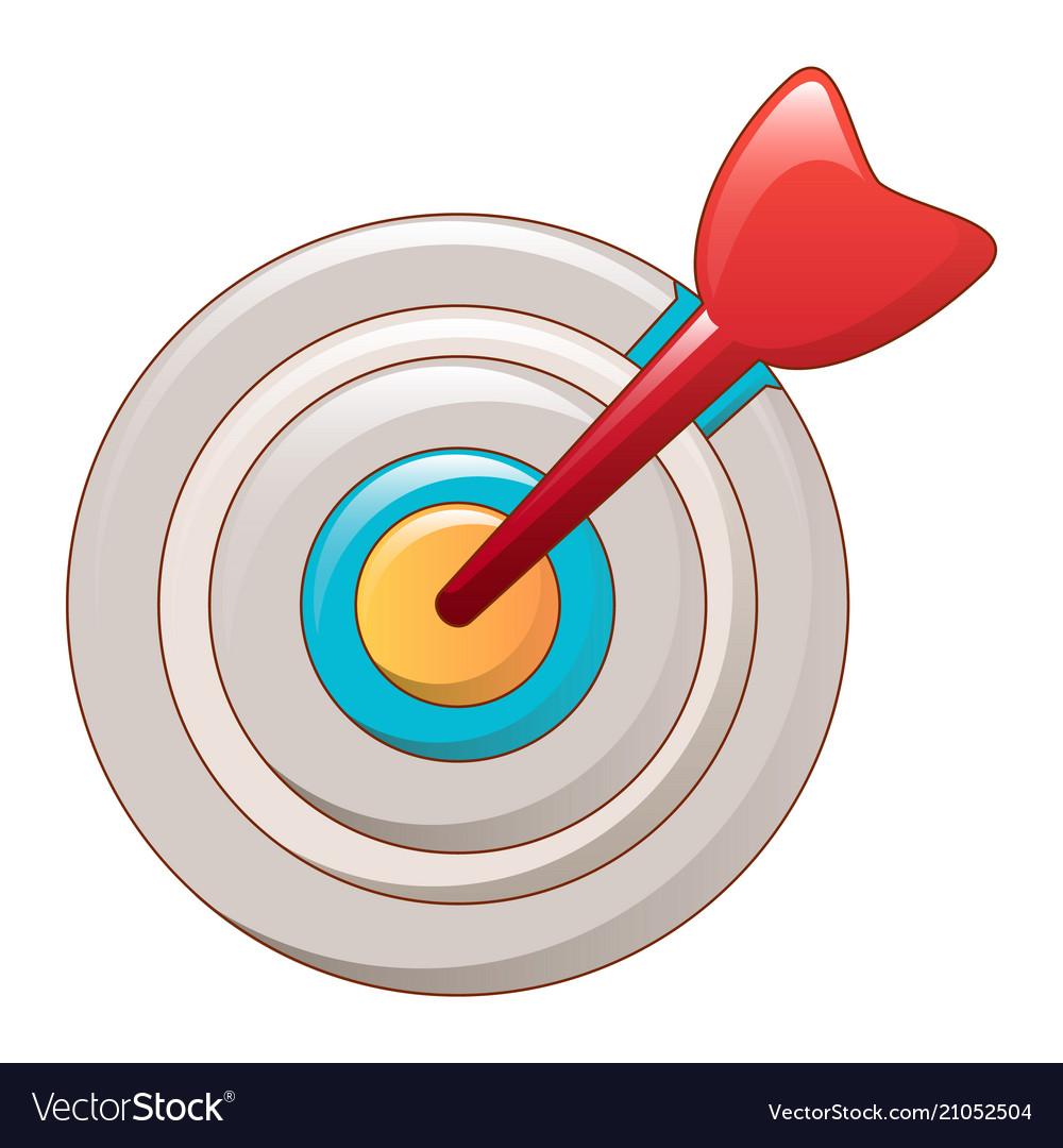 Arrow in center target icon cartoon style