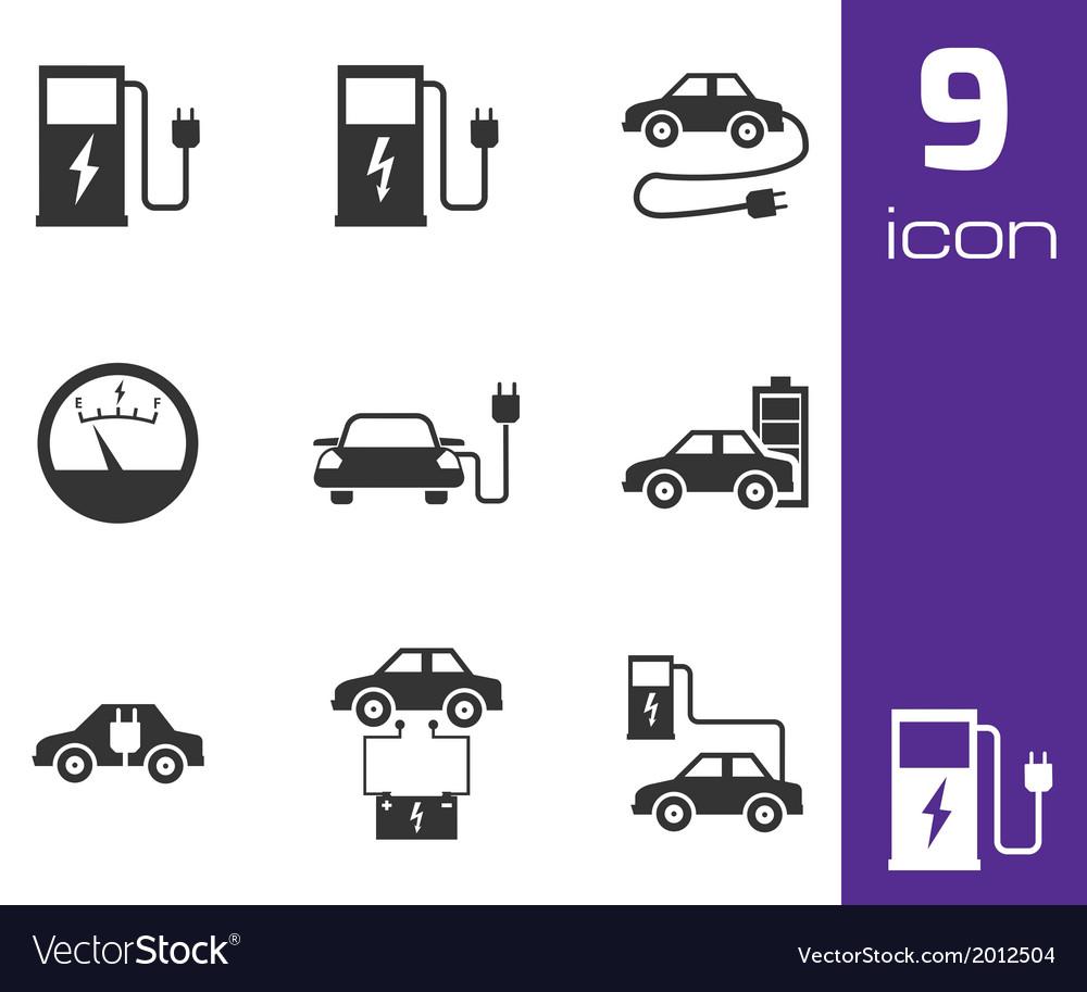 Black electric car icons set