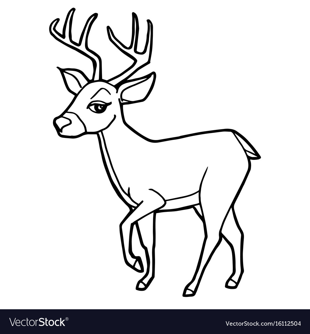 Cartoon Cute Deer Coloring Page Royalty Free Vector Image