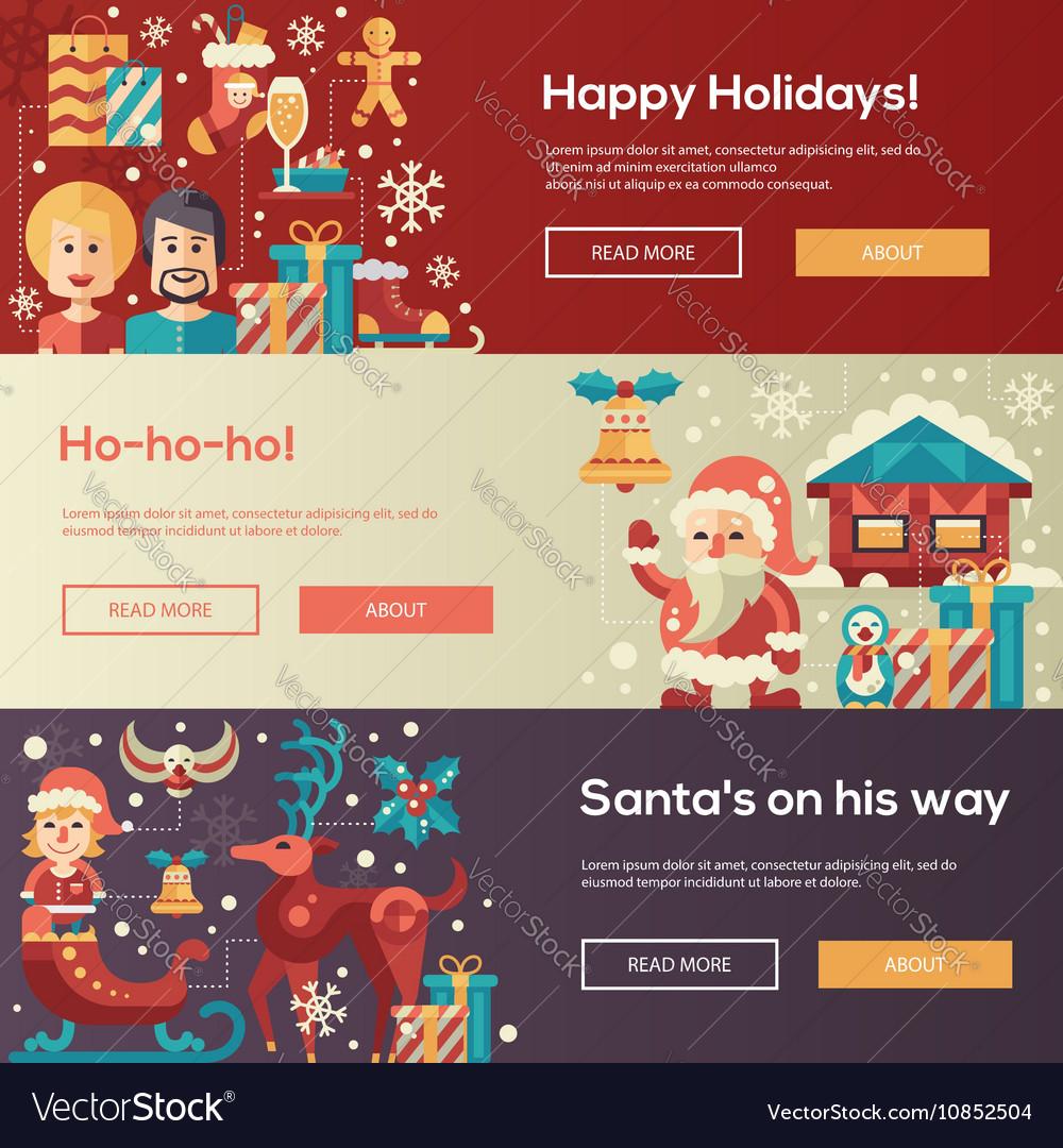 Christmas flat design website banners