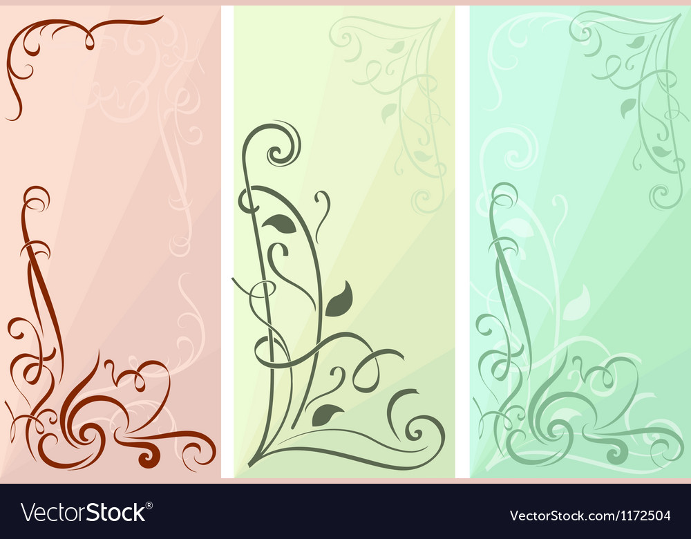 Color floral vertical banners set vector image