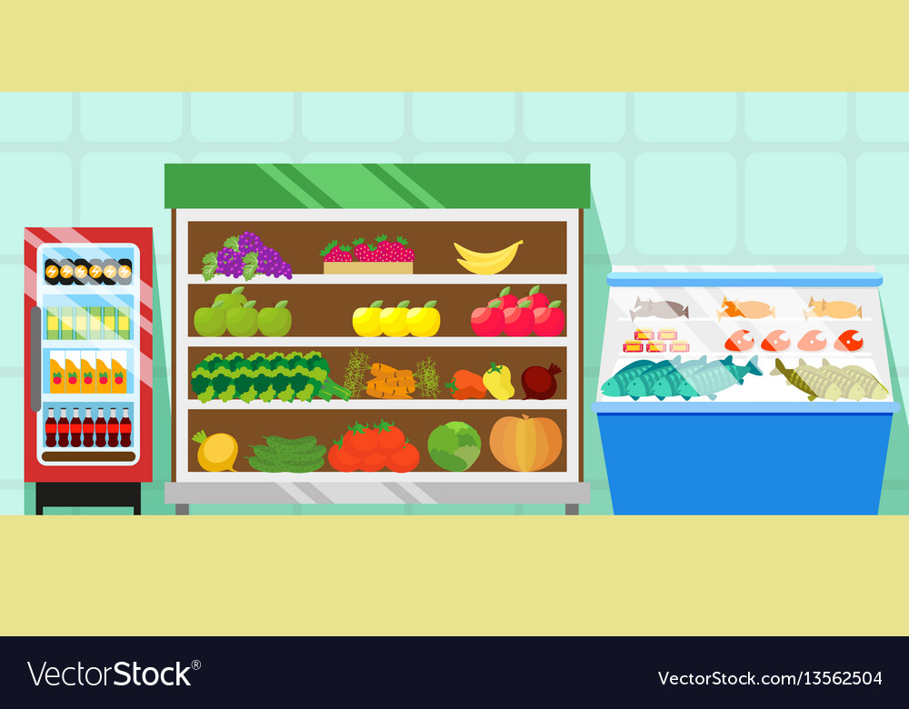 Counters with food vegetables and fruits