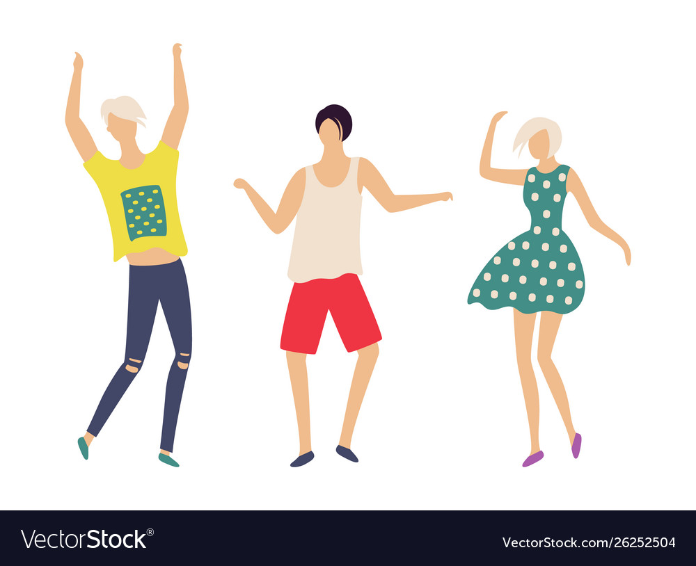 Dancing people in good mood isolated characters