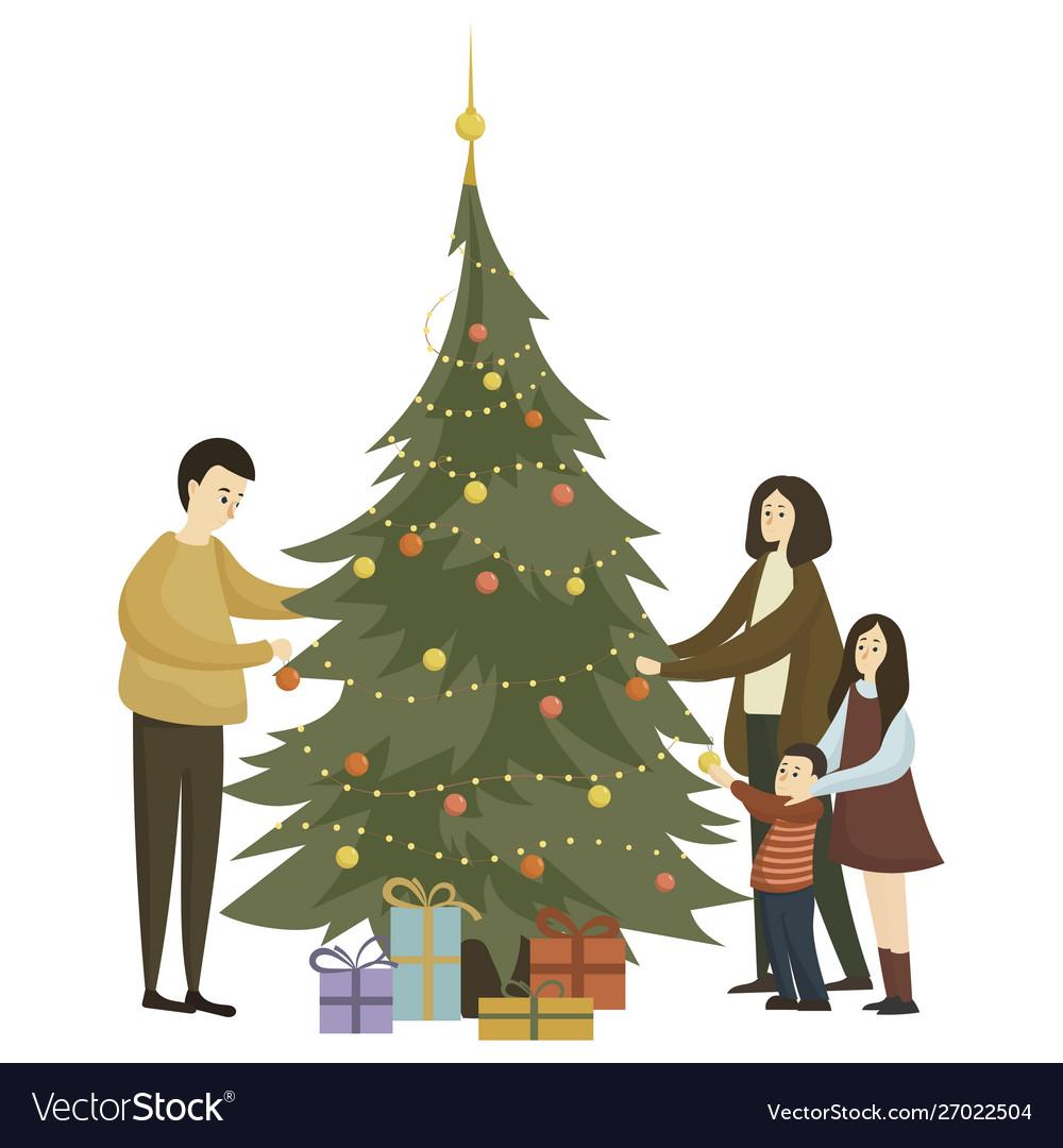 Family dress up christmas tree cartoon