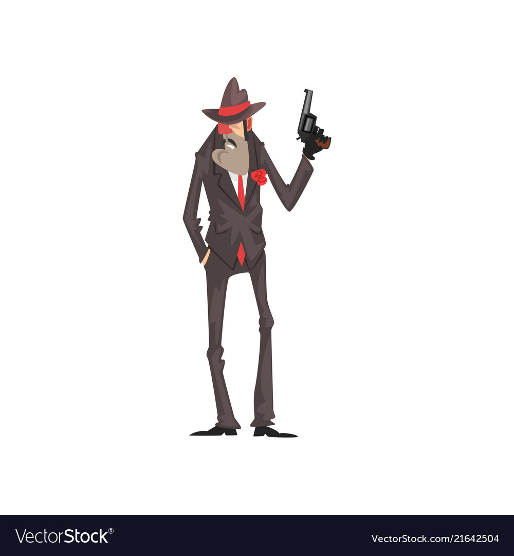 Gangster criminal character in a suit and fedora