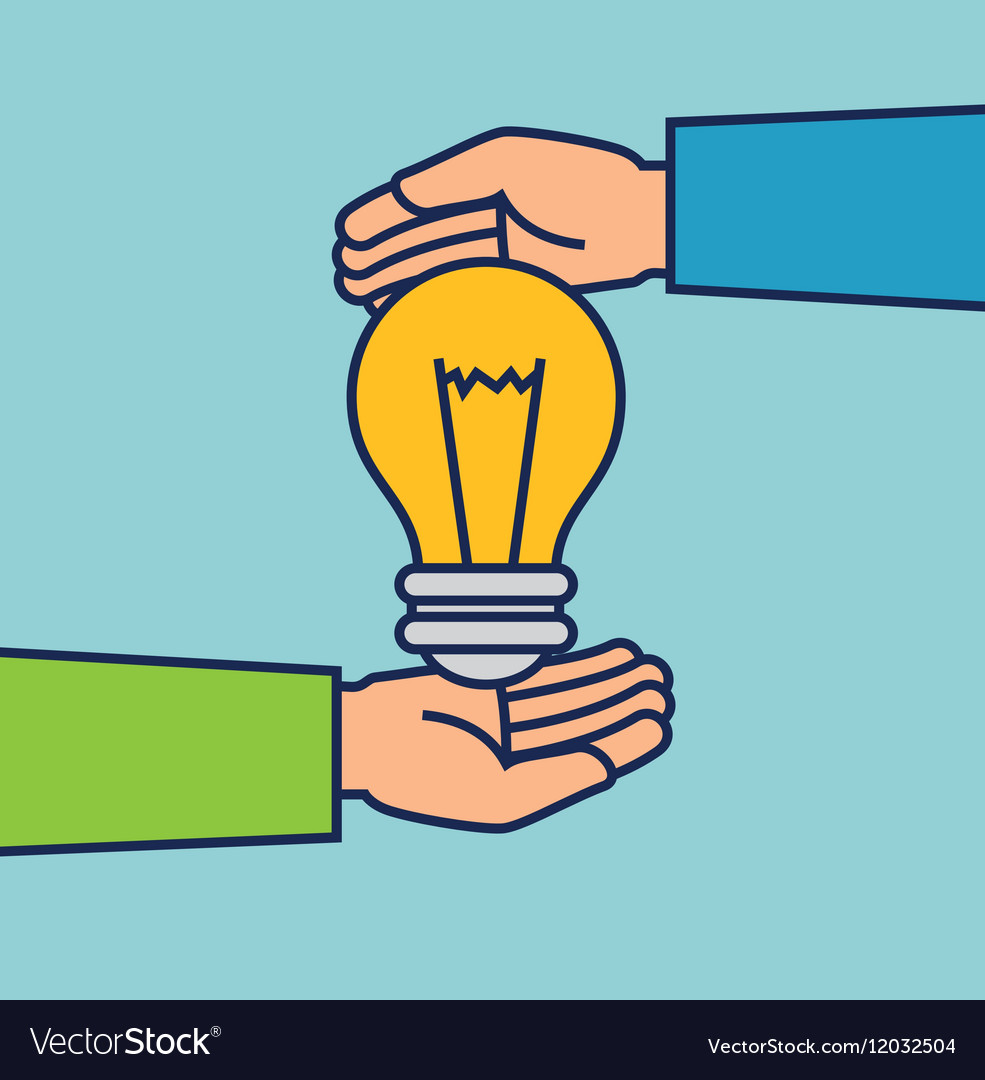 Hands with bulb creative icon vector image