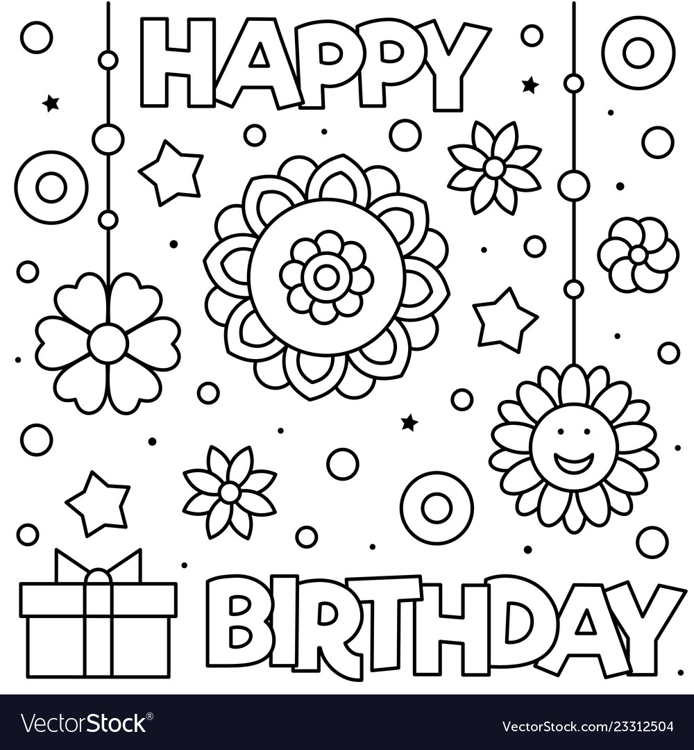 Happy birthday coloring page black and white