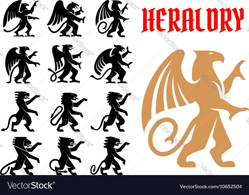 Heraldic mythical animals icons set