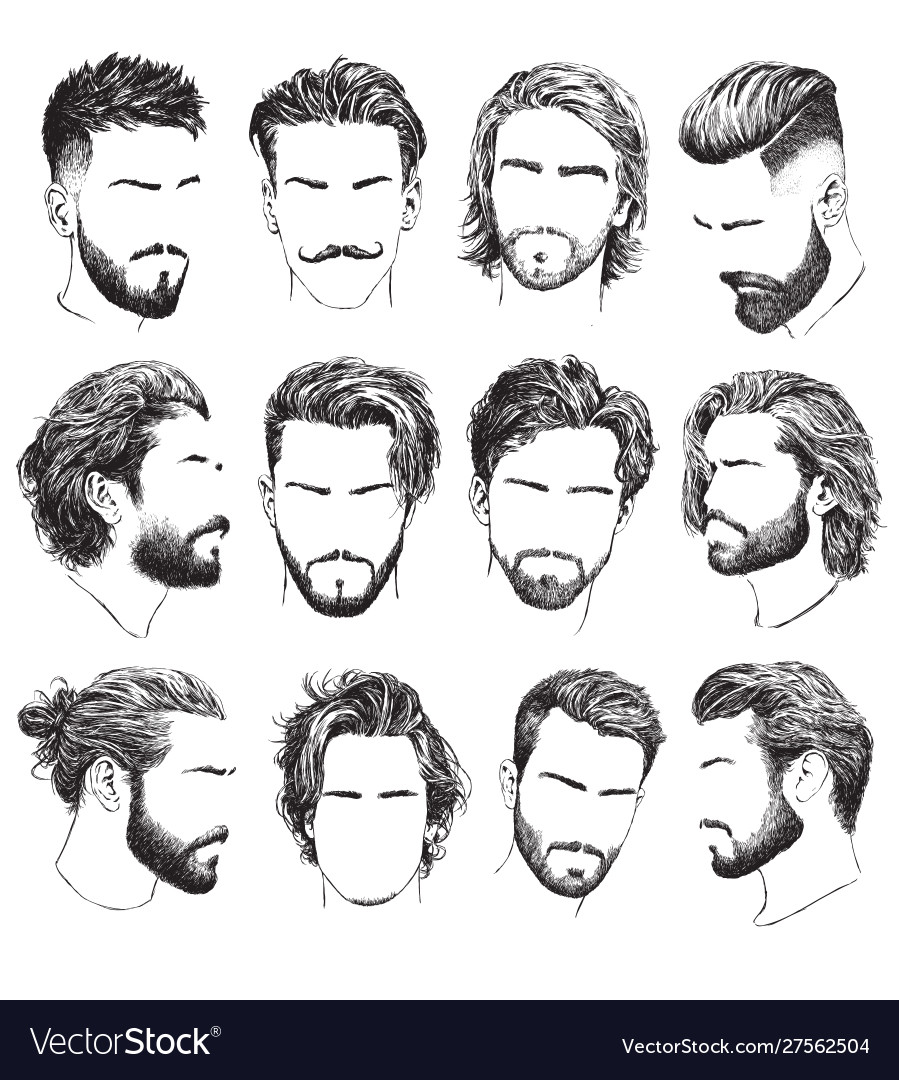 Highly detailed hand drawn mens hairstyles