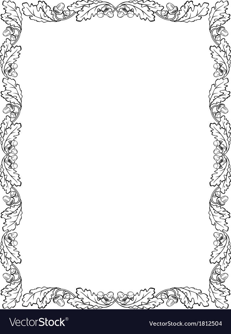 Oak Leaf Frame Black Silhouette Royalty Free Vector Image