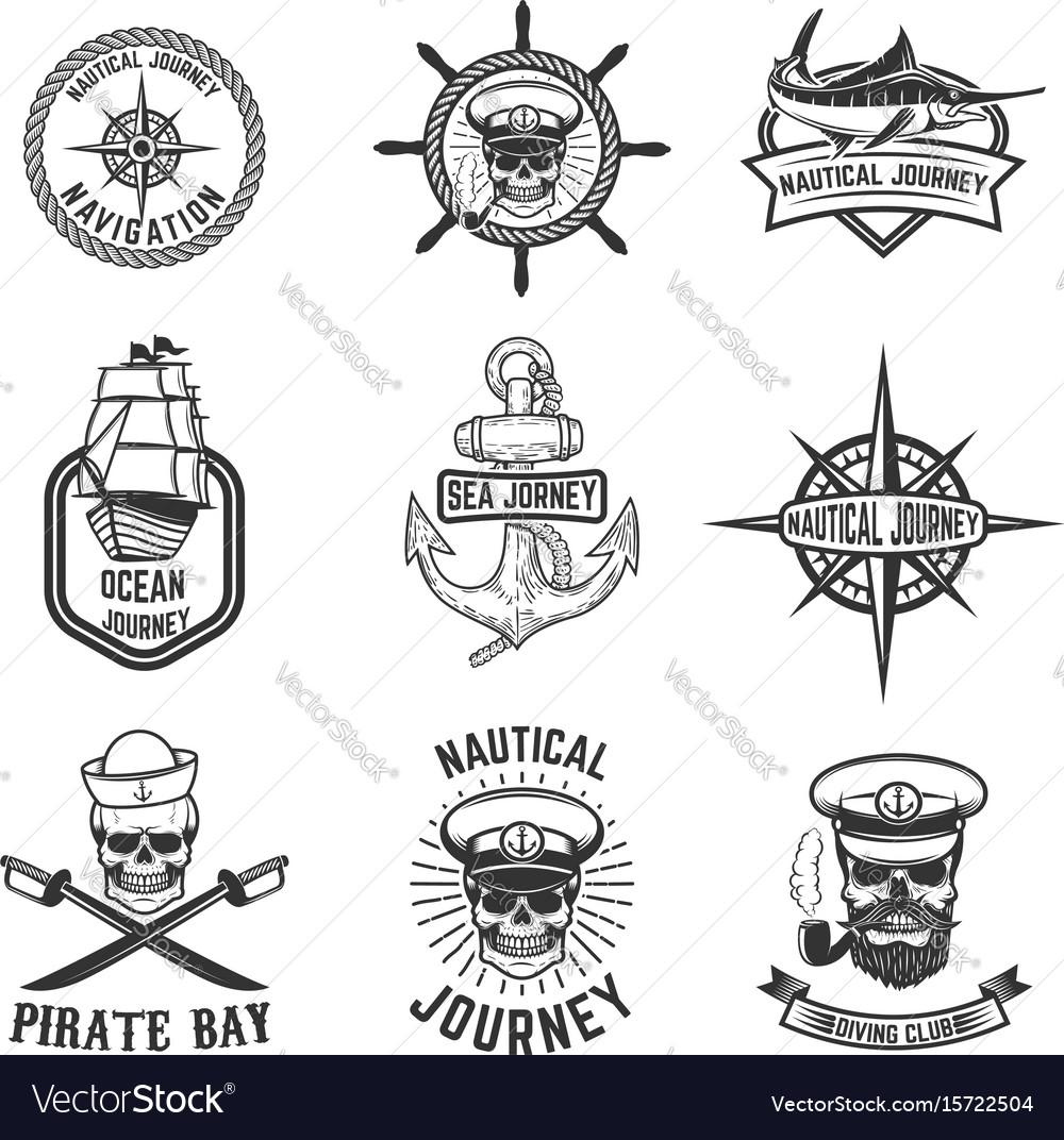 Set of nautical emblems design elements for logo