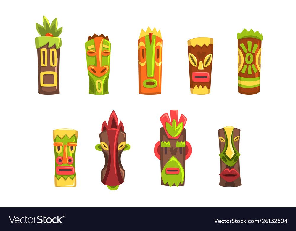 Traditional religious totems set colorful ethnic