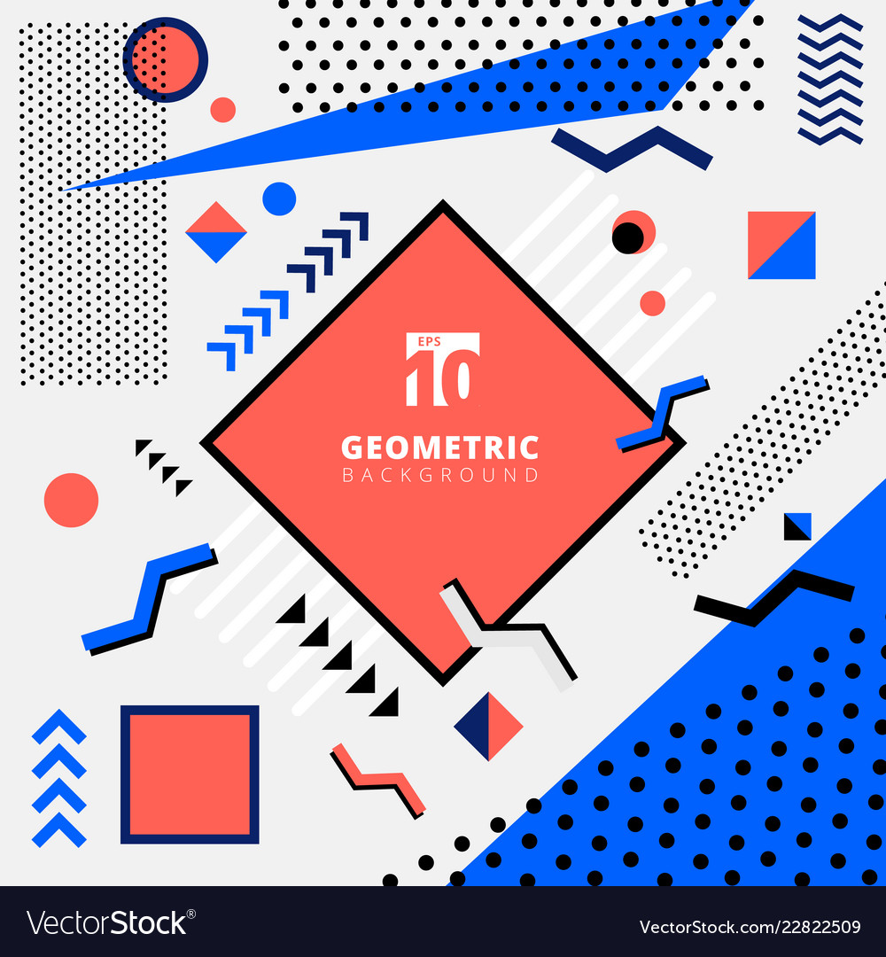 Abstract geometric pattern design memphis style