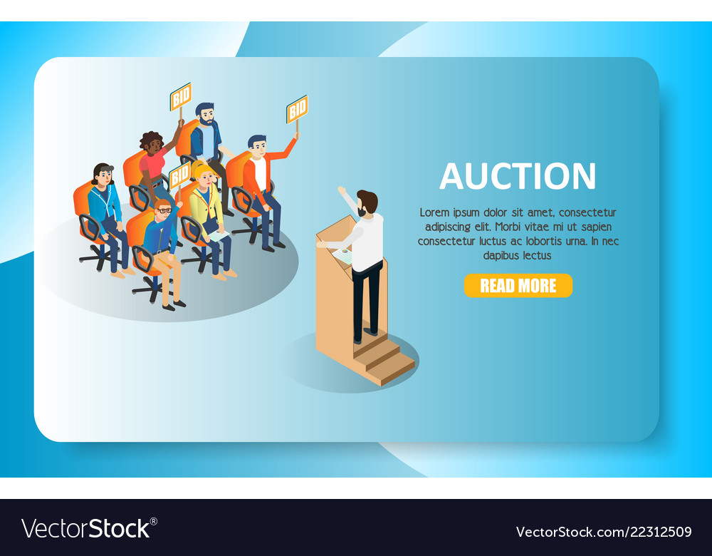 Auction isometric web banner website