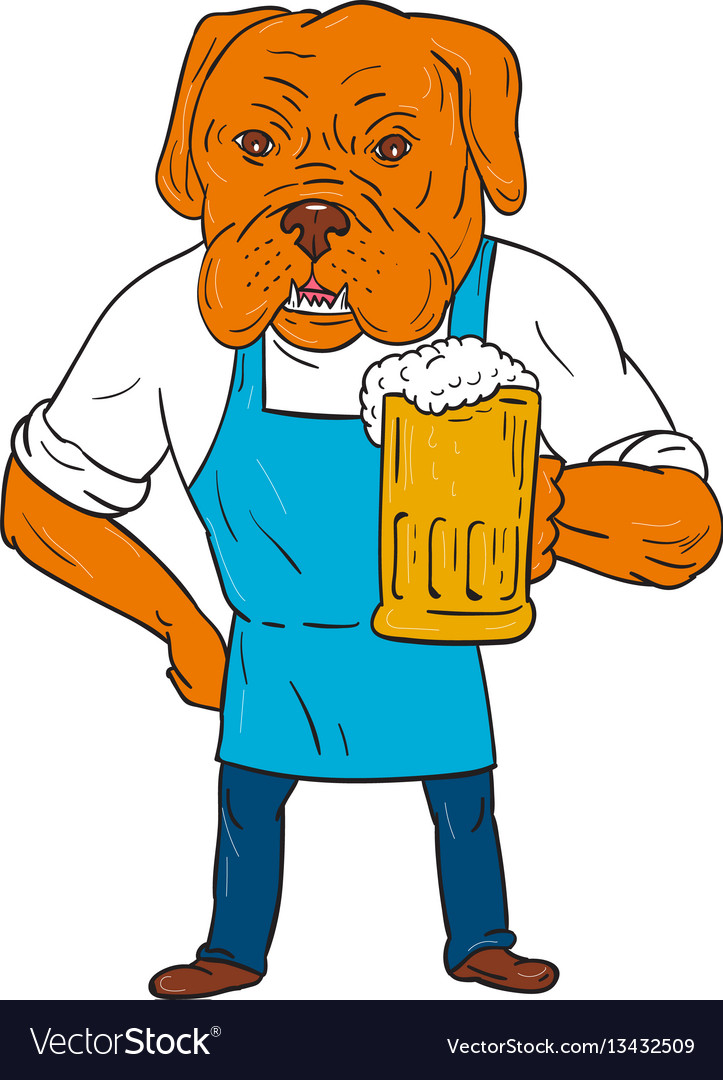 Bordeaux dog brewer mug mascot cartoon vector image